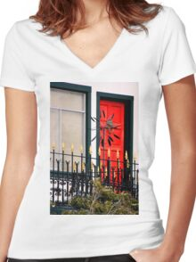 Ornate Metal Fence With Froufrou Women's Fitted V-Neck T-Shirt