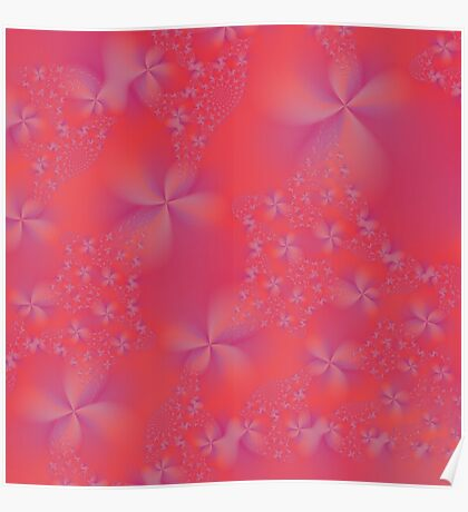 Violet and Pink Abstract Flowers Poster