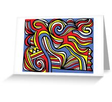 Kaib Abstract Expression Yellow Red Blue Greeting Card