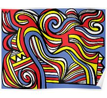 Kaib Abstract Expression Yellow Red Blue Poster