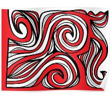 Gronstal Abstract Expression Red White Black Poster