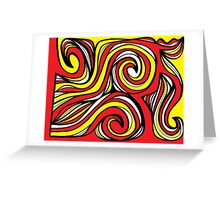 Clowers Abstract Expression Yellow Red Black Greeting Card