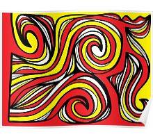 Clowers Abstract Expression Yellow Red Black Poster