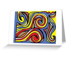 Guernsey Abstract Expression Yellow Red Blue Greeting Card