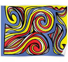 Guernsey Abstract Expression Yellow Red Blue Poster