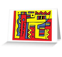 Vandell Abstract Expression Yellow Red Blue Greeting Card