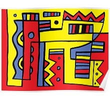 Vandell Abstract Expression Yellow Red Blue Poster