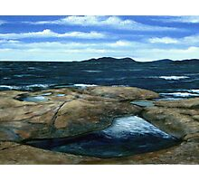 View of Pic Island on Lake Superior from the Whale Back rocks Photographic Print