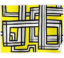 Nanka Abstract Expression Yellow Black Poster