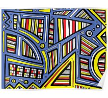 Zapalac Abstract Expression Yellow Blue Poster