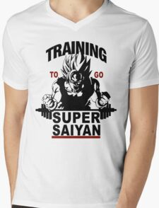 Training to go Super Saiyan Mens V-Neck T-Shirt