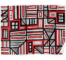 Busenius Abstract Expression Red White Black Poster