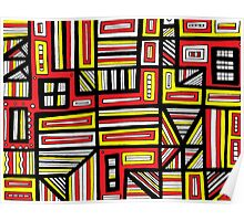 Streifel Abstract Expression Yellow Red Black Poster