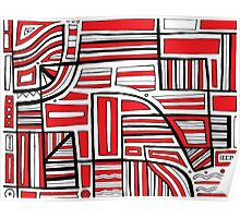 Kenimer Abstract Expression Red White Black Poster