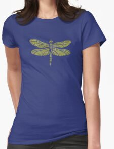 Garden Charm IV: Shabby Green Geometric Print and Dragonfly T-Shirt