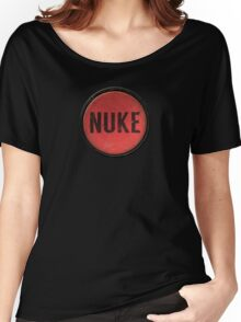Red Nuke Button Women's Relaxed Fit T-Shirt