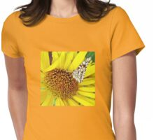 Butterfly on Yellow Womens Fitted T-Shirt