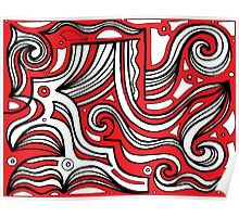 Evoy Abstract Expression Red White Black Poster
