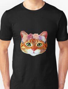 Flower Crowned Orange Tabby Cat Unisex T-Shirt
