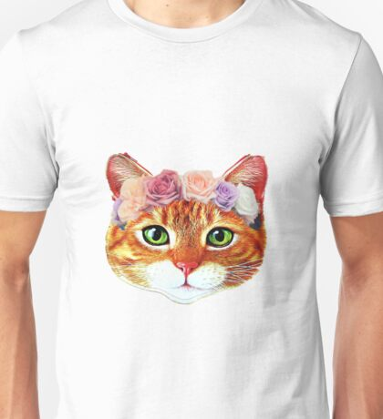 Flower Crowned Orange Tabby Cat Unisex T-Shirt