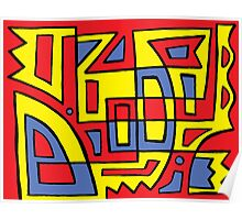 Bayn Abstract Expression Yellow Red Blue Poster