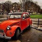 Red Citroen in Paris by GalbaSandras