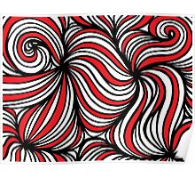 Hebblethwaite Abstract Expression Red White Black Poster