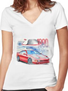 Nissan 300zx Classic Car Illustration Women's Fitted V-Neck T-Shirt