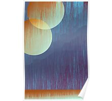 Two Moons and Mountain Abstract Art - Yellow and Blue Poster