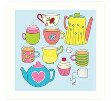 Teapots, cupcakes & more Art Print