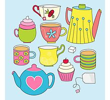Teapots, cupcakes & more Photographic Print