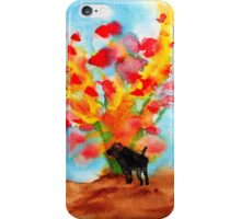 Black dog with Blooming Spring Tree iPhone Case/Skin