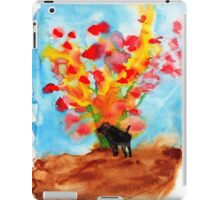 Black dog with Blooming Spring Tree iPad Case/Skin