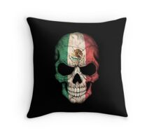 Mexican Flag Skull Throw Pillow