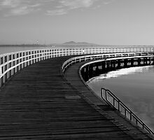 Eastern Beach Boardwalk - Black and White by Shelly Taylor