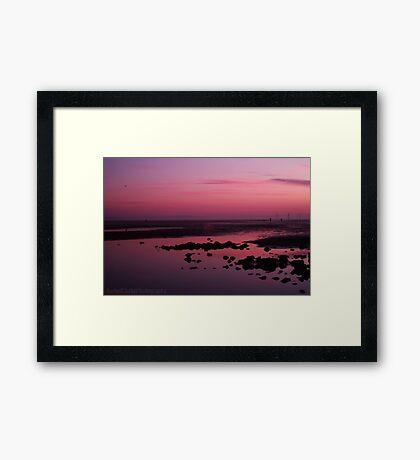 Gorgeous pink beach sunset Framed Print