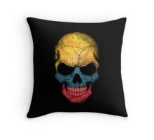 Colombian Flag Skull Throw Pillow