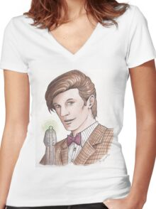 """Eleventh Doctor say """"Geronimo!"""" Women's Fitted V-Neck T-Shirt"""