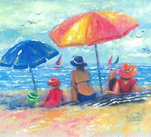 At the Beach With Mom and Grandma by VickieWade
