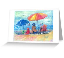 At the Beach With Mom and Grandma Greeting Card