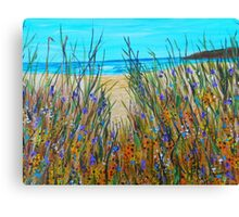 Beach Flowers, impressionism art, ocean painting, home decor, wall art Canvas Print