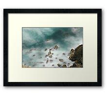 Byron Bay Midnight Ocean Rocks © Vicki Ferrari Framed Print