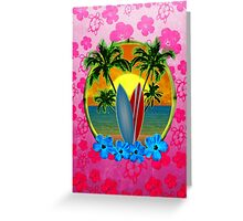 Pink Surfing Sunset Honu Greeting Card