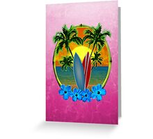 Pink Surfing Sunset Greeting Card