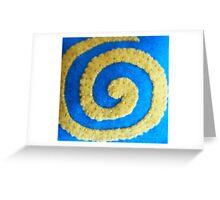 Yellow Spiral on Blue by Holly Cannell Greeting Card