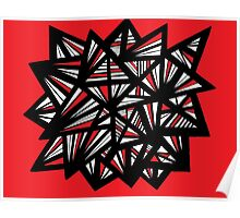 Cutright Abstract Expression Red White Black Poster