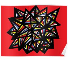 Duntz Abstract Expression Yellow Red Blue Poster