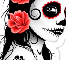 Red Day of the Dead Sugar Skull Girl Sticker