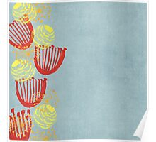 Garden Charm IV:  Watercolor Floral on Blue with Cat Poster