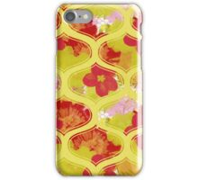 Garden Charm IV:  Shabby Floral and Geometric in Bright Orange and Yellow with Dog iPhone Case/Skin